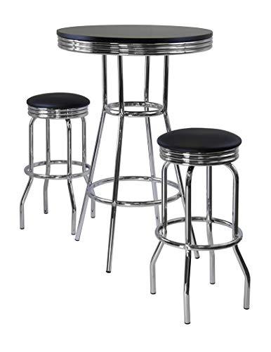 (Wood & Style Premium Décor 3pc Pub Table Set, Includes 2 Swivel Stool)