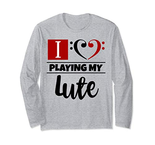 Double Black Red Bass Clef Heart I Love Playing My Lute Long-Sleeve T-Shirt