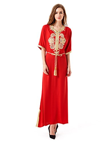 Baya Gown Dubai Islamic Abaya Jalabiyas Clothing Rayon Red Caftan Women Dress Muslim 7qnSWrwH7