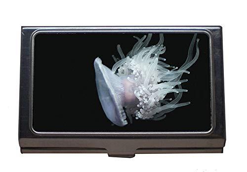 older Wallet Credit Card ID Case/Holder,Aquarium jellyfishes Underwater,Stainless Steel Card Holder ()