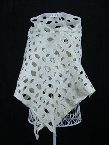- White Lace Shawl, Wool Lace Scarf, Bridal Lace scarf, Wedding Shawl, White wedding lace stole, Felted Shawl, Felt Snood Cowl, Felt Cape
