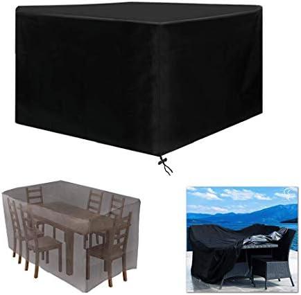 Funda Muebles Patio Negro, Funda Mesa Exterior Impermeable Oxford Funda Mesa Jardin Cubierta Protectora Anti-UV Patio Rectangular de Poliéster - Negro (Size : 308x308x98cm): Amazon.es: Hogar