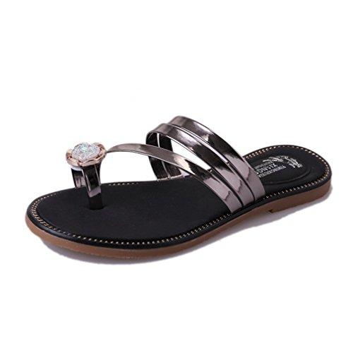 CYBLING Fashion Summer Bohemian Flat Slippers Sandals for Women Beach Strap Shoes Silver 9nKNgIJ0