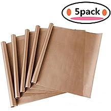 5Pack Teflon Fiber BBQ Grill & Baking Mats, Non-stick, Reusable, Heat Resistant,Easy to Clean