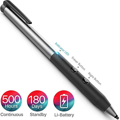 Heiyo Surface Pen, Rechargeable Surface Pro Pen Supporting 500-Hour Working 180-Day Standby, 4096 Pressure Sensitivity Surface Stylus for Surface Pro/Book/Go/Laptop/Studio