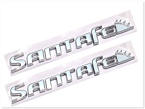 Santa Fe Hyundai Chrome Badge Emblem Logo Fender Trunk Side Body Hood Chromed Decal Sticker 3D Car Auto Adhesive Replacement Truck Van Sports Diy Name Plate Swap Abs Plastic [2 Pcs] SKU#2488-BX321
