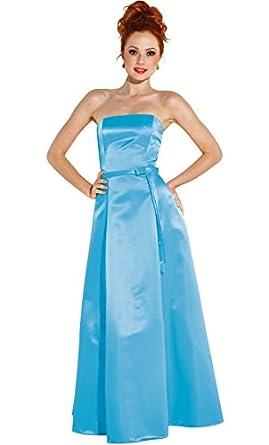 50s Strapless Satin Long Bridesmaid Prom Dress Formal