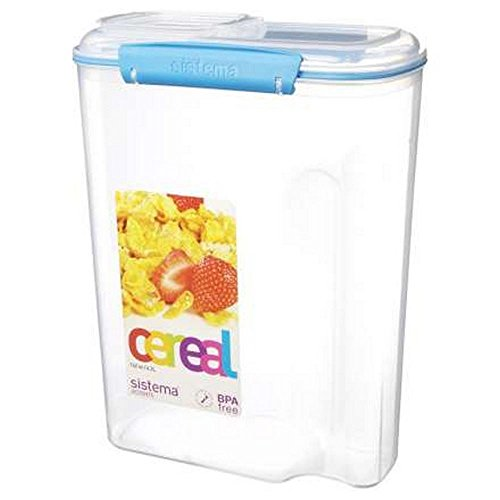 Sistema Cereal Container - 4.2L 21.5 x 11.5 x 28.5 - Colours Vary (Pack of 2) (Sistema Cereal Container compare prices)