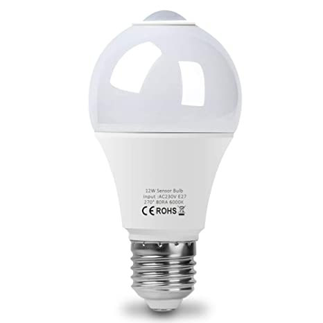 Bombilla LED PIR Sensor ,E26/27 Inteligente 12 W, Blanco Frío 5800-