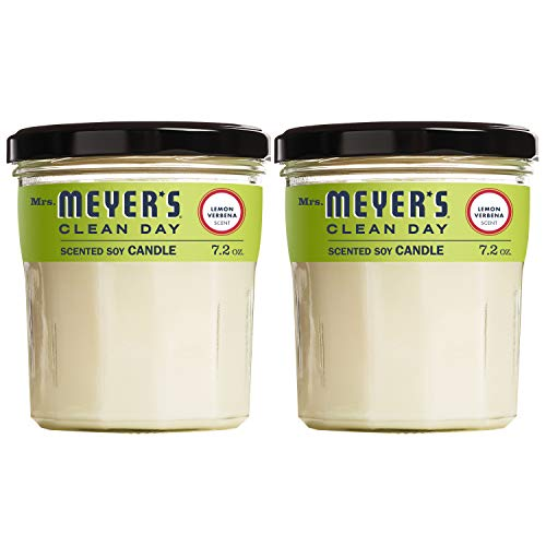 Mrs. Meyer's Clean Day Scented Soy Candle, Large Glass, Lemon Verbena, 7.2 oz, 2 ct (Scented Candles Linen)