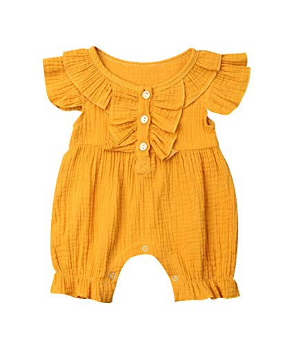 - VISGOGO Newborn Baby Girls Boys Kid Solid Colour Bodysuit Sleeveless Romper Jumpsuit + Headband 2PCS Clothes Sets (C-Yellow, 0-6 Months)