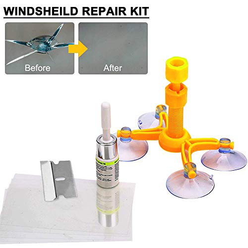 (DIY Car Windshield Repair Kit, Windshield Glass Repair Kit for Repair Windshield Cracks, Bulls Eye, Half Moon Crescents and Star Chips)