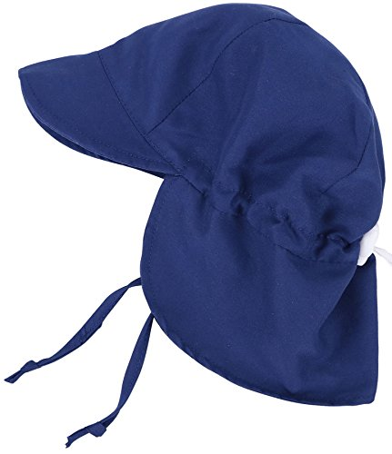 SimpliKids UPF 50+ UV Ray Sun Protection Baby Hat w/ Neck Flap & Drawstring,Navy,0-12 Months