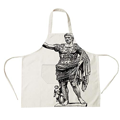 3D Printed Cotton Linen Big Pocket Apron,Toga Party,Antique Statue of Augustus Vintage Ancient Historical King Emperor Figure Print Decorative,Black White,for Cooking Baking Gardening ()