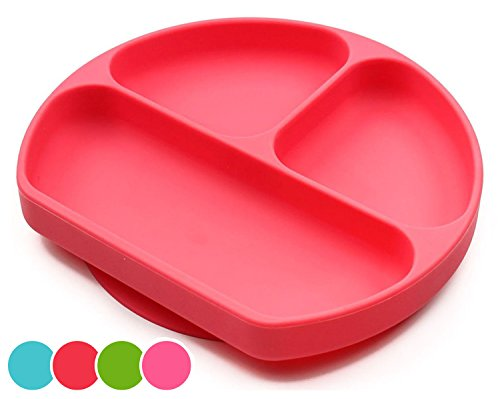 Tray Sticks (Suction Plates For Toddlers, Babies, Silicone Placemats For Kids Stick, Fits To Most High Chair Tray And Tabel, Baby Dishes - Kids Plates + Bowls - Red)