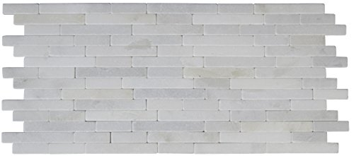 M S International Arabescato Carrara Veneer 8 In. X 18 In. X 10 mm Tumbled Marble Mesh-Mounted Mosaic Tile, (10 sq. ft., 10 pieces per case) by MS International