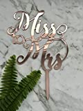 Miss To Mrs Acrylic Rose Gold Mirror Bridal Shower Cake Topper