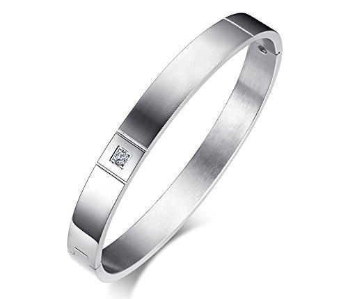 (Domika Stainless Steel Cubic Zirconia Hinged Bangle Bracelet for Men Women)