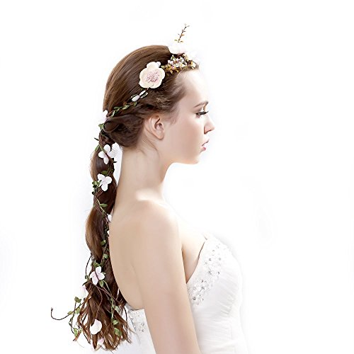 Newly arrived Rattan Flower Vine Crown Tiaras Necklace Belt Party Decoration, Pink, One Size -