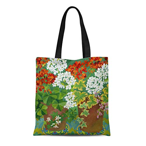 Terra Cotta Fabric Handbags - Semtomn Cotton Line Canvas Tote Bag Terracotta Red and White Geraniums Reusable Handbag Shoulder Grocery Shopping Bags