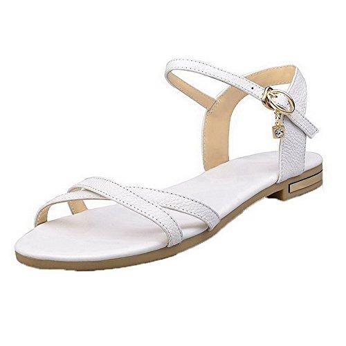 Sandali Con Fibbia In Pelle Bianca A Tacco Alto A Punta Aperta