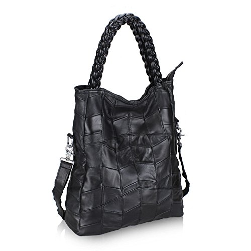 Fashion Genuine Body LQT Tote Bag Black Cross Large Handbag Retro Leather Shoulder Women's OqwT5BSU