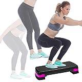 Nicole Miller Aerobic Exercise Step Deck, Adjustable Workout Fitness Stepper Exercise Platform