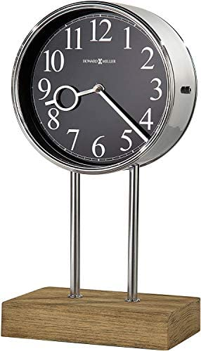 Howard Miller Baxford Mantel Clock 635-179 Chrome and Driftwood, Quartz Triple-Chime Movement
