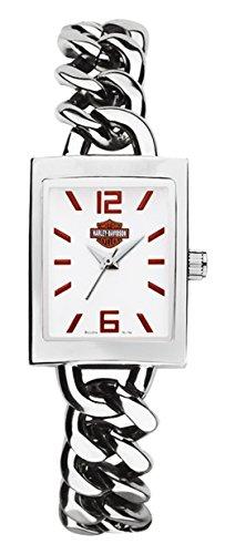 Harley-Davidson Women's Bulova Wrist Watch. White Enamel Dial. Chainlink 76L154