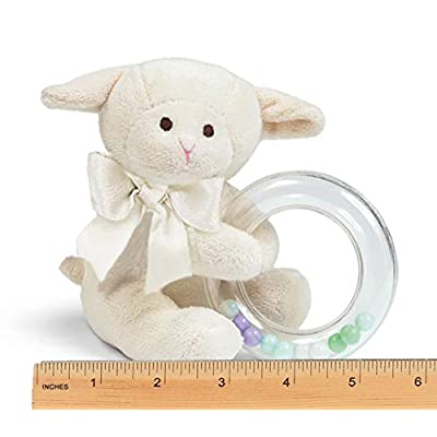 Bearington Baby Lamby Plush Stuffed Animal Cream Lamb Shaker Toy Ring Rattle, 5.5