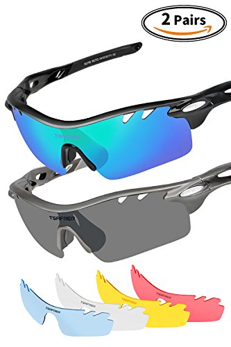 Polarized Sunglasses Mens Sunglasses 2 Pairs Sports Sunglasses with 4 Interchangeable Lenses, Tr90 Unbreakable Sunglasses for Men Women Cycling Driving Running Golf Outdoor Sunglasses