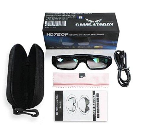Kamera- Gläser mit klare Linsen , Spy Cam Brillen , High Definition (HD ) , 720p + Free Tutorial Video Kurs + 8GB Karte (Erweiterbar nach 32GB)
