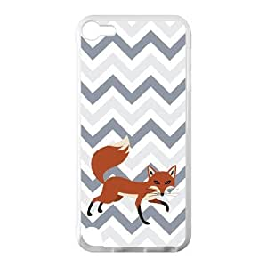 Adorable Cleverness Small Fox Walking Leisurely Blue White Purple Chevron Ipod Touch 5 Case Cover Shell (Laser Technology)