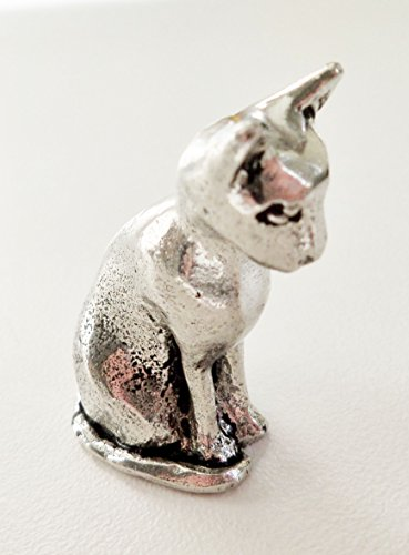 Cat Sitting Pewter Ornament - Hand Made in Cornwall , England in Solid Pewter