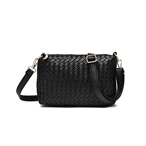 3 Leather PU Ladies with Shoulder Wallet Purse Handbags Set Black Totes Black for Pieces Bags Matching Women Sqvxw