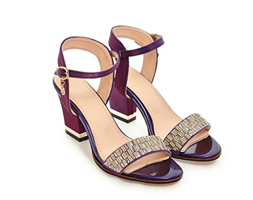 41 Compras Sandalias 41 Negro Beige Imitación Slip Purple 7cm 32 elegantes 40 Para diamantes diario Xie púrpura Rojo Mujer De aTSxdqan7w