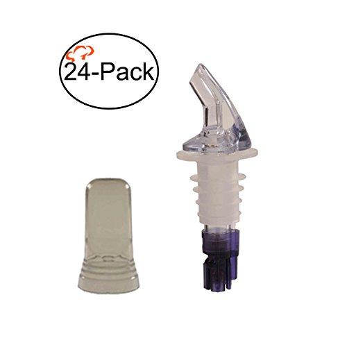 Tiger Chef 24-Pack Plastic Measured Liquor Pourer without Collar, 1 1/8 Ounce Purple, Precision Wine Bottle Pour Spout with Pourer Dust Covers ()