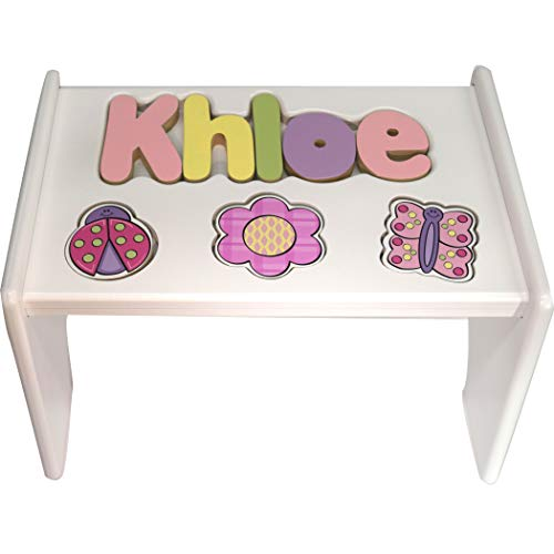 (Personalized Garden Wooden Puzzle Stool- Stool Color: White, Letter Color: Pastel, 1-8 Letters)