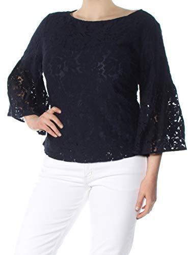 (LAUREN RALPH LAUREN Womens Lace Overlay Bell Sleeves Blouse Navy XL)