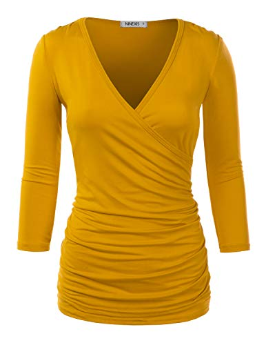NINEXIS Womens Long Sleeve Crossover Side Wrap Surplice Casual Top Mustard S ()