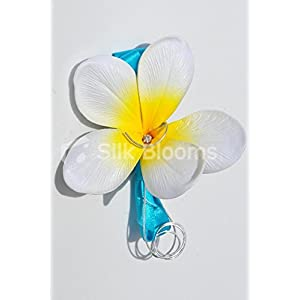 Tropical Fresh Touch Yellow Centred Frangipani Plumerias Buttonhole with Wire