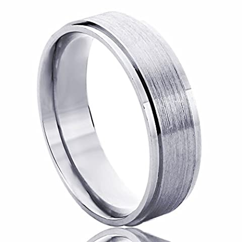 14K White Gold Wedding Band 6mm Brushed Dome Comfort Fit Ring -Size: 9 (6 Mm White Gold Band)