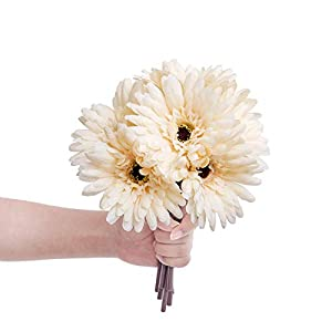 Ling's moment Artificial Gerbera Daisy Flowers Pack of 24 Cream Daisies Flower for DIY Wedding Bouquets Centerpieces Arrangements Home Decor 1