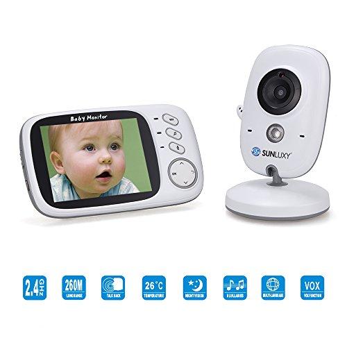 SUNLUXY 3,2 Zoll Farb Wireless Baby Monitor Babyphone Überwachungskamera mit IR-Nachtsicht, Digital Video 2-Wege-Gegensprechfunktion, Temperatursensor, Schlaflieder, aufladbare Batterie.