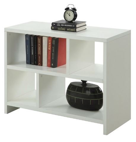 K&A Company White 2- Shelf Bookcase Storage Modern Wood Home 38 x 15.5 x 28 inches Console Table