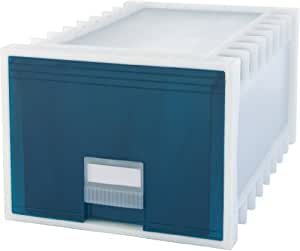 Storex 24-Inch Archive Storage Box for Letter Size Hanging Files, Frosted/Aqua (61103U01C)