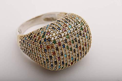 Stunning Turkish Handmade Jewelry Round Cut Sapphire Emerald Turquoise Pink Ruby Amethyst Black Onyx Topaz Zircon 925 Sterling Silver Ring Size Options