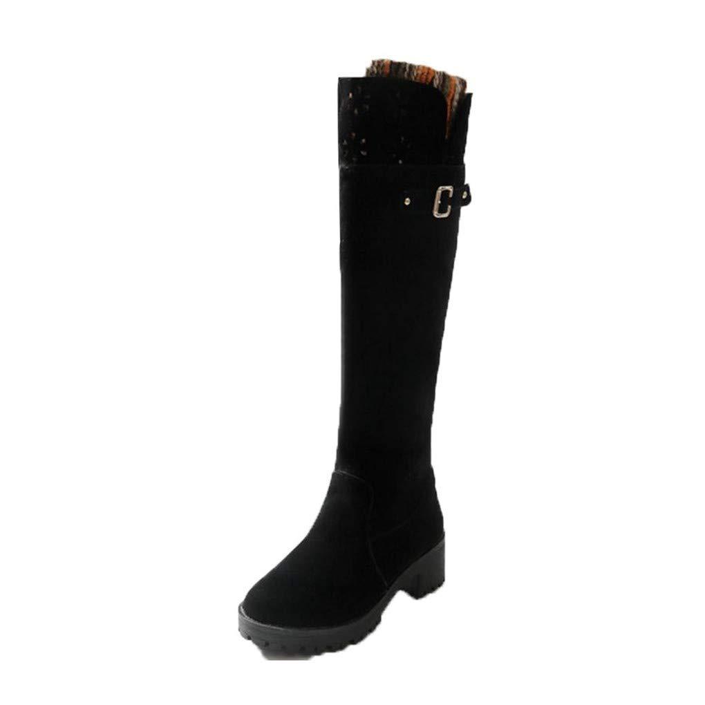 HAOLIEQUAN Frauen Thick High Heel Kniehohe Winterstiefel Für Frauen Blaume Dicke Plattform Schuhe Warme Winter Größe 34-39