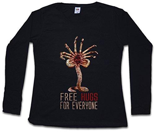 FREE HUGS FOR EVERYONE GIRLIE DAMEN T-SHIRT - Facehugger Promethues Weyland Ripley Fun Alien T-Shirt Größen XS – 2XL