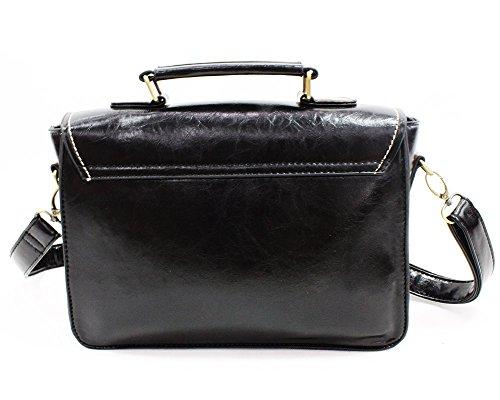 Whoinshop-Borsa a tracolla da donna in stile Vintage, con tracolla, per la scuola e borse (nero)
